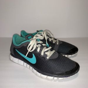 Nike Gray Teal Free Run 3.0 Tennis Shoes Sz 8.5